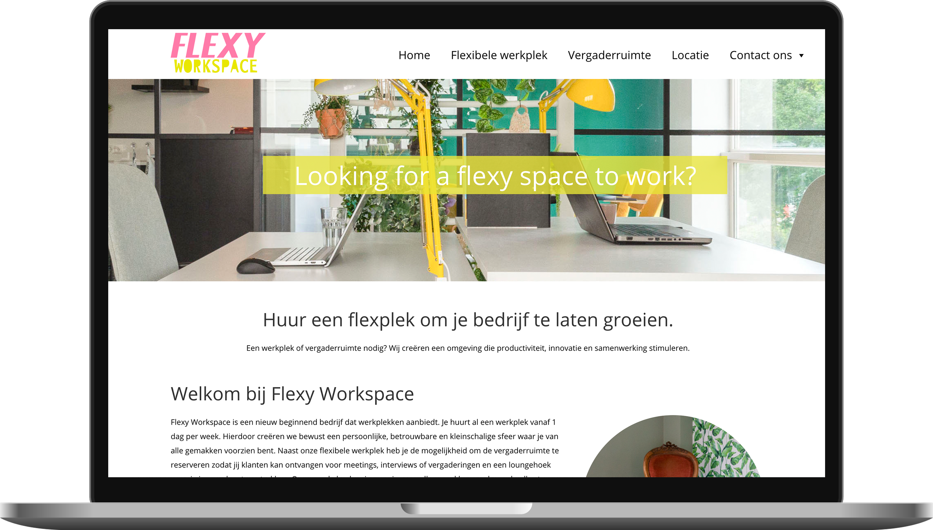 Website gemaakt in Almere voor Flexy Workspace